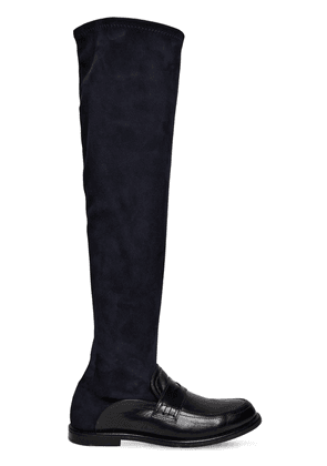 20mm Suede & Leather Tall Loafer Boots