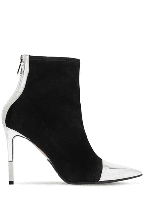 110mm Blair Suede & Metallic Ankle Boots