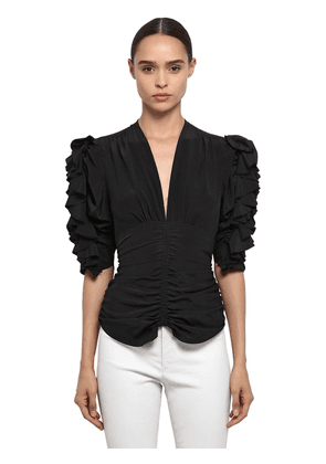 Silk Ruched V Neck Top