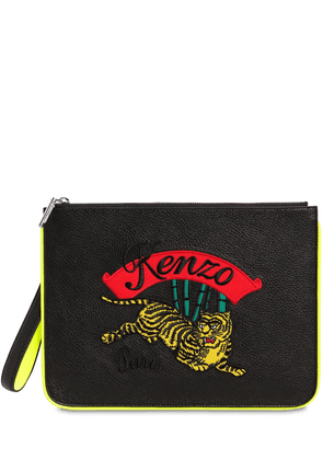 Tiger Embroidered Flat Leather Pouch