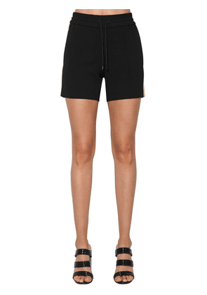 Contrasting Color Crepe Shorts