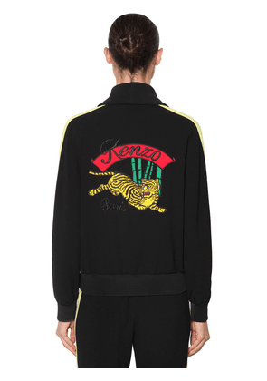 Embroidered Zip-up Crepe Track Jacket