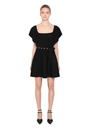 Ruffled Wool Rib Knit Dress W/ Belt