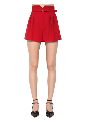High Waist Belted Viscose Cady Shorts