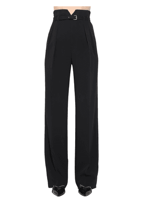 High Waist Belted Viscose Crepe Pants