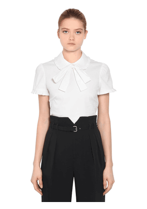 Cotton Poplin Short Sleeve Shirt W/ Bow