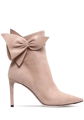 85mm Cassidy Bow Suede Ankle Boots