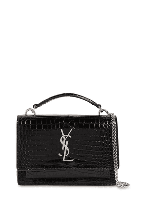 Small Sunset Croc Embossed Leather Bag