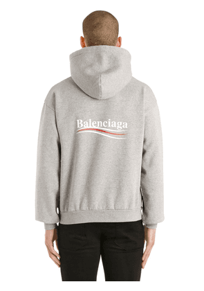 Political Logo Hooded Cotton Sweatshirt