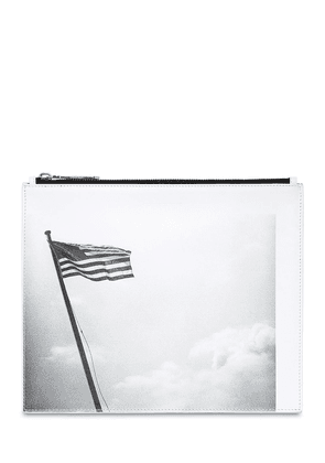 American Flag Print Leather Pouch