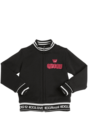 Queen Patch Zip-up Cotton Sweatshirt