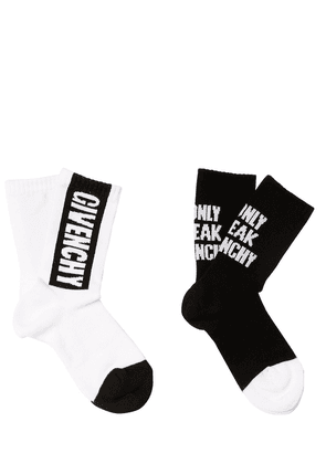 2 Pairs Of Logo Jacquard Cotton Socks
