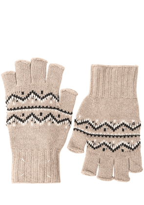 Wool Jacquard Knit Fingerless Gloves
