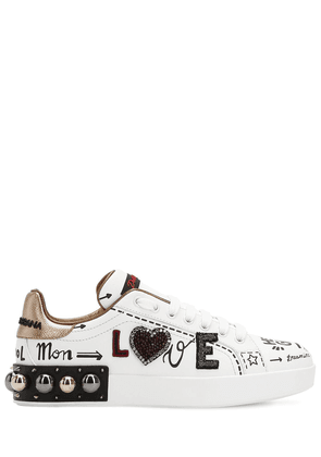 20mm Portofino Studded Leather Sneakers