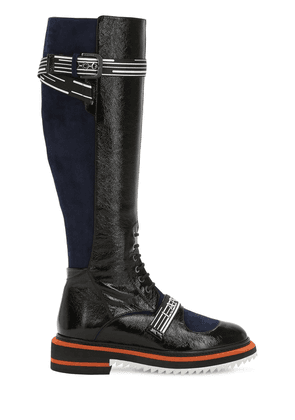 25mm Patent Leather & Suede Tall Boots