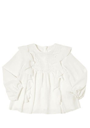 Ruffled Crepe Shirt With Lace