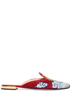 10mm Dragon Embroidered Canvas Mules