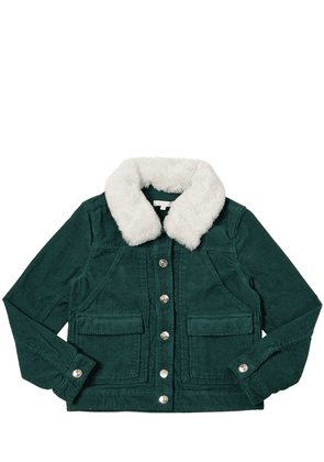 Cotton Corduroy Jacket W/ Faux Fur