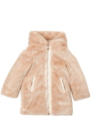 Reversible Hooded Faux Fur & Nylon Coat