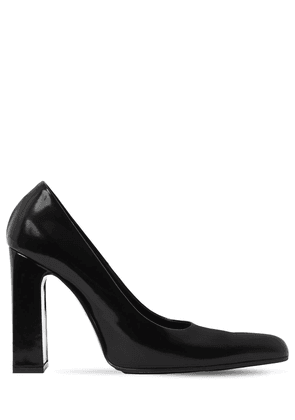 110mm Round Toe Brushed Leather Pumps