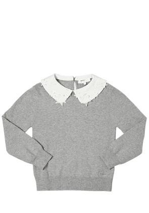 Cotton Blend Sweater W/ Star Collar