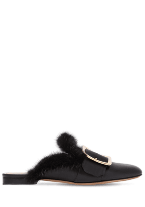 10mm Janesse Mink & Leather Mules