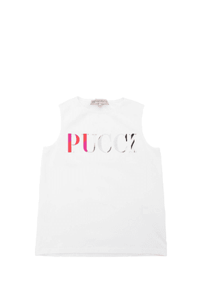 Logo Patches Cotton Jersey Tank Top