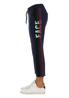 Printed Cotton Jersey Cropped Sweatpants