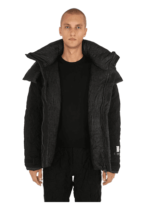 Hooded Wrinkled Wool Down Jacket