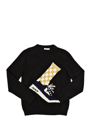 Sneakers Intarsia Wool Knit Sweater