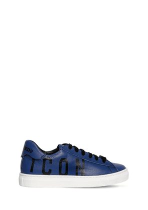 Icon Printed Leather Sneakers