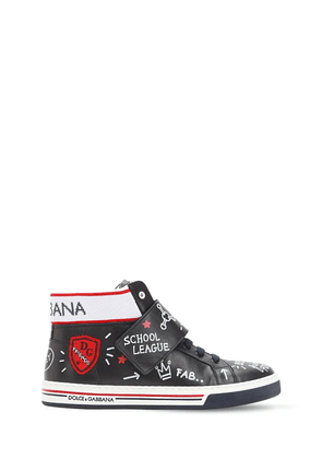 Graffiti Print Leather High Top Sneakers