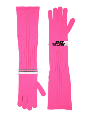 Logo Intarsia Tech Knit Long Gloves