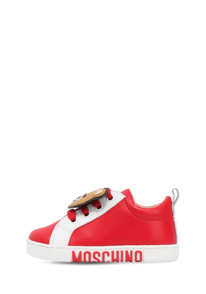Teddy Bear Patch Nappa Leather Sneakers