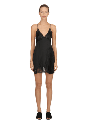 Silk Satin & Macramé Babydoll Dress