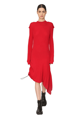 Asymmetrical Wool Rib Knit Dress