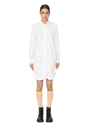 Cotton Poplin Coulisse Mini Shirt Dress