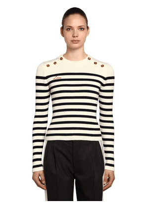 Striped Wool Sweater W/ Buttons