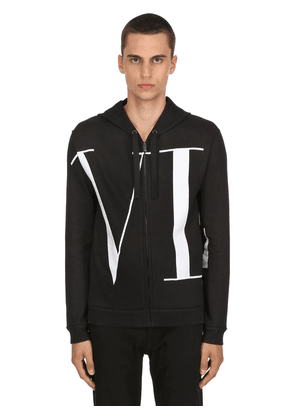 Vltn Logo Zip-up Cotton Sweatshirt
