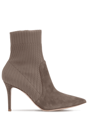 85mm Rib Knit & Suede Ankle Boots