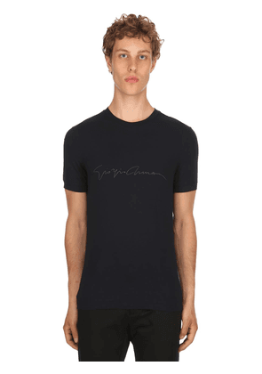 Flocked Signature Stretch Jersey T-shirt