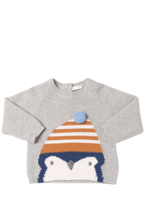 Penguin Intarsia Wool Knit Sweater