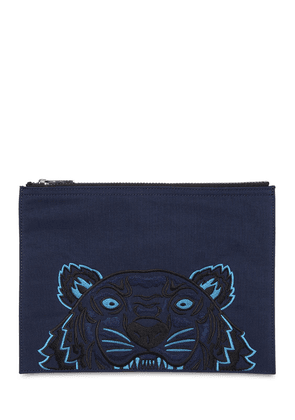 Tiger Embroidered Nylon Pouch