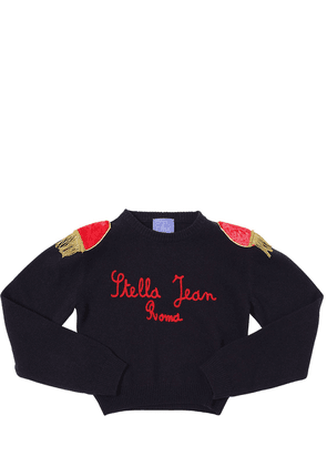 Cropped Wool Blend Knit Sweater