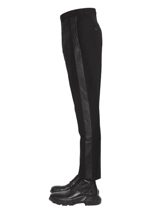 Cropped Wool Crepe Pants W/ Side Bands