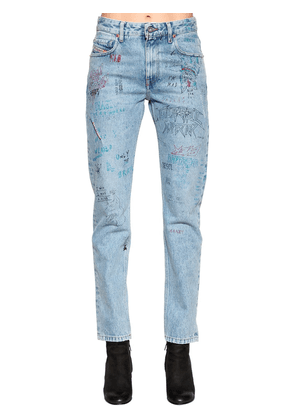 Graffiti Cotton Denim Jeans