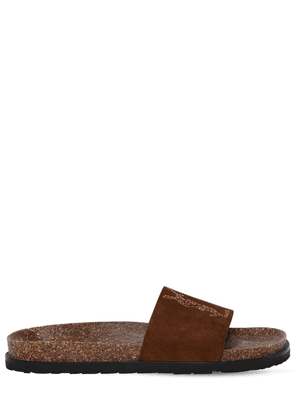 Joan Logo Stitched Suede Side Sandals