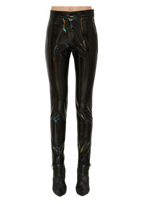 Iridescent High Waist Skinny Vinyl Pants