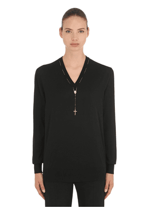 Cashmere Knit Sweater W/ Rosary