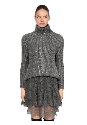 Embellished Wool Knit Turtleneck Sweater